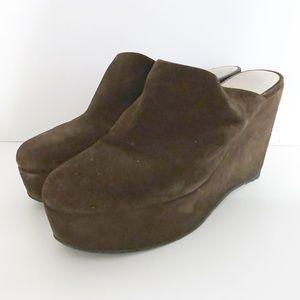 Robert Clergerie Shoes - Robert Clergerie 8 Brown Suede Platform Wedges
